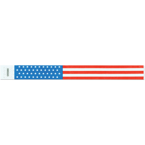 "Tytan Band® Expressions Tyvek Wristbands 1"" Stars & Stripes Design TX10 (500/Pack) - Wristbands.com"