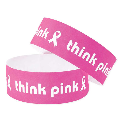 "Tytan-Band® Expressions Tyvek Wristbands 1"" Think Pink Design TX33 - Day Glow Pink (500/Pack) - Wristbands.com"