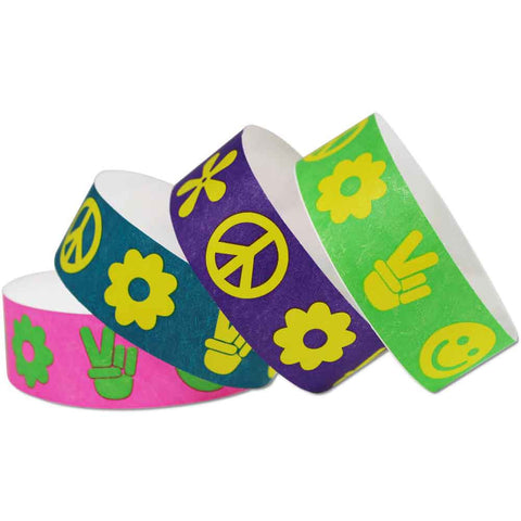 "Tytan® Band Expressions Tyvek Wristbands 1"" 70's Design TX39 (500/Pack) - Wristbands.com"