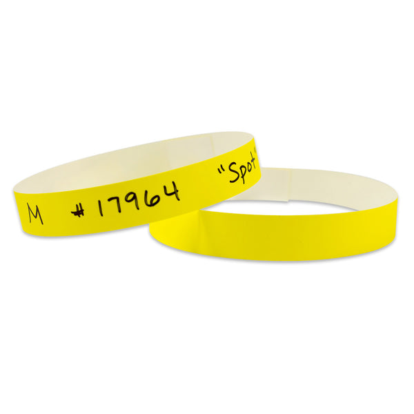 "TabBand Max® 20"" X 5/8"" Animal ID Collar With  Adhesive Closure, Yellow (500/Case) - Wristbands.com"