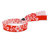 Woven Aloha Wristbands Floral Design Red