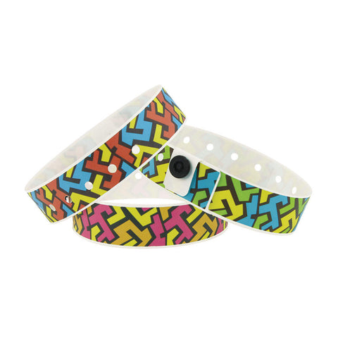 "SuperBand® Expressions Plastic Wristbands 3/4"" Mazing Design 4058 (500/Box) Clearance - Wristbands.com"