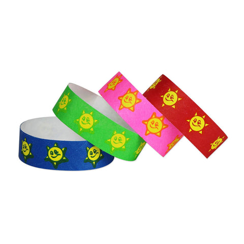 "Tytan Band® Expressions Tyvek 3/4"" Smiley Sun Design Wristbands NTX08 - 500/Pack - Wristbands.com, The No.1 Wristband Store in the World"