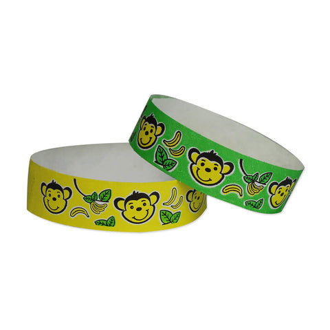 "Tytan Band® Expressions Tyvek 3/4"" Monkeys Design Wristbands NTX102 - 500/Pack - Wristbands.com, The No.1 Wristband Store in the World"