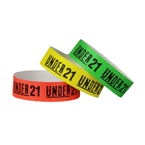 "Tytan Band® Expressions Tyvek 3/4"" 'Under 21' Design Wristbands NTX104 - 500/Pack - Wristbands.com, The No.1 Wristband Store in the World"
