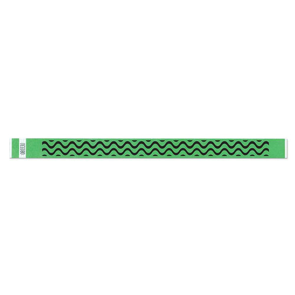 "Tytan® Band Expressions Tyvek 3/4"", Wave Design Wristbands, NTX106-75-PDM, Lime, 500/Pack"