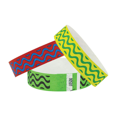 "Tytan® Band Expressions Tyvek Wristbands 3/4"" Wave Design NTX106 (500/Pack) - Wristbands.com"