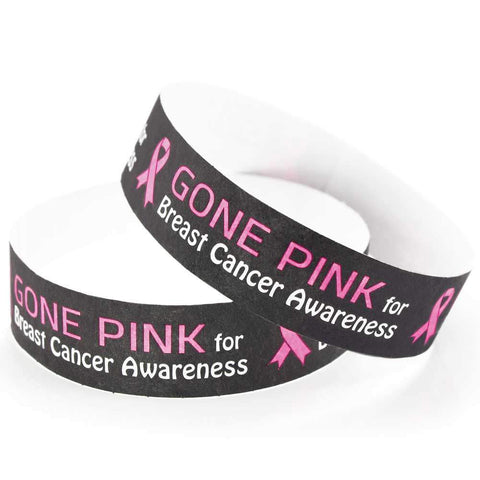 "Tytan-Band® Expressions Tyvek Wristbands 3/4"" Gone Pink Design NTX108 - Black (500/Pack) - Wristbands.com"