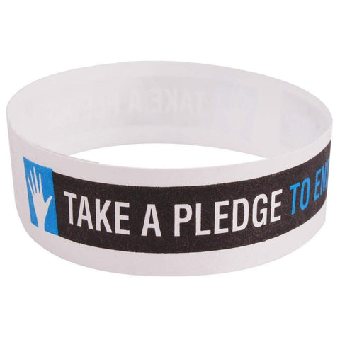 "Tytan-Band® Expressions Tyvek Wristbands 3/4"" Take A Pledge To End Bullying NTX110 - White (500/Pack) - Wristbands.com"