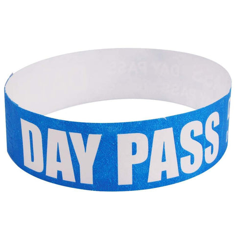 "Tytan® Band Expressions Tyvek Wristbands 3/4"" Day Pass Design NTX114 - Blue (500/Pack) - Wristbands.com"