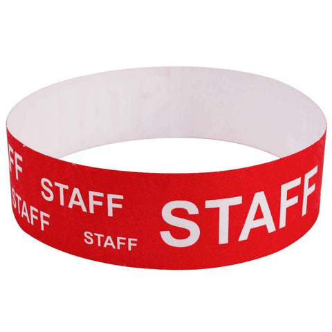 "Tytan® Band Expressions Tyvek Wristbands 3/4"" Staff Design NTX116 - Red (500/Pack) - Wristbands.com"