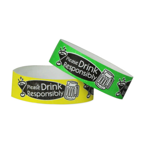 "Tytan Band® Expressions Tyvek 3/4"" Please Drink Responsibly Design Wristbands NTX88"
