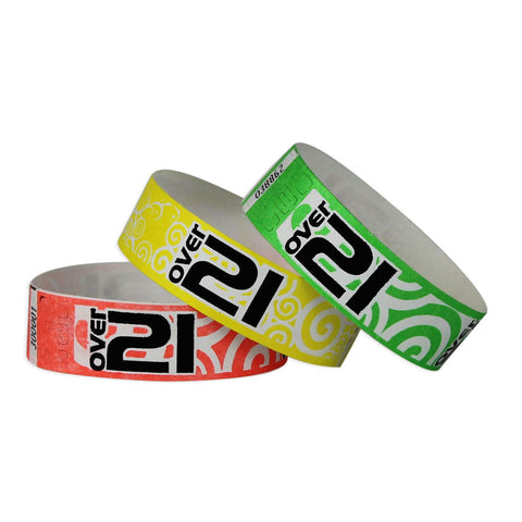 "Tytan Band® Expressions Tyvek 3/4"" 'Over 21' Swirls Design Wristbands NTX89 - 500/Pack - Wristbands.com, The No.1 Wristband Store in the World"