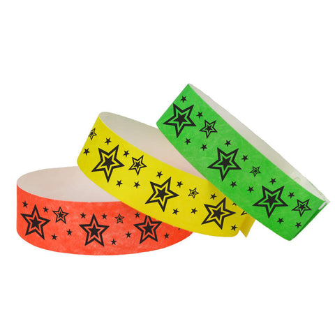 "Tytan Band® Expressions Tyvek 3/4"" Star Explosion Design Wristbands NTX91 - 500/Pack - Wristbands.com, The No.1 Wristband Store in the World"