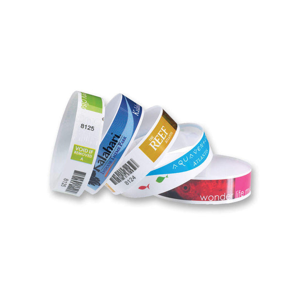 SureImage® Custom Plastic Wristbands Adhesive Closure NVS - Wristbands.com