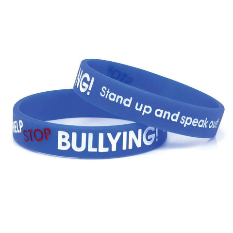 "Silicone Color Filled Debossed 1/2"" Help Stop Bullying! Stand Up and Speak Out Wristbands SILHSA - Blue - 100/Pack"