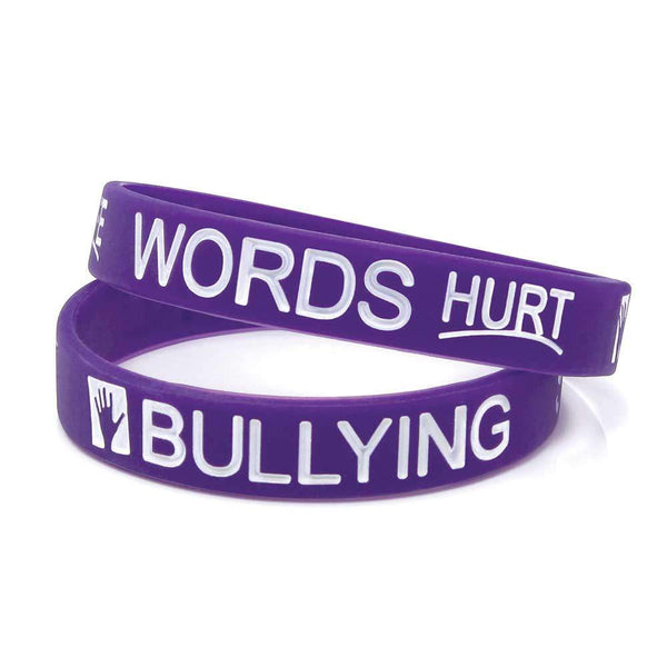 "Silicone Wristbands Color Filled Debossed 1/2"" Words Hurt-Bullying-Save A Life - Grape (100/Pack) - Wristbands.com"