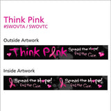 "Woven Wristbands Polyester/Nylon 1"" Full Color, Dual Sided, Think Pink Design - Black (50/Pack) - Wristbands.com"