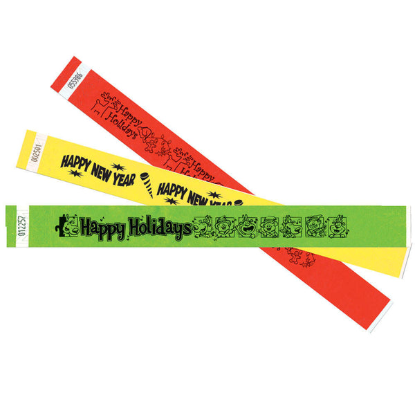 "Winter Holiday Tyvek® 1"" Wristbands TENS - Adhesive Closure - 10/Sheet - Wristbands.com, The No.1 Wristband Store in the World"