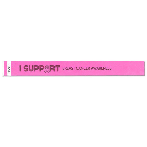 "Speedi-Band® Expressions Tyvek 1"" I Support Breast Cancer Awareness Design Wristbands TENSIS - Day Glow Pink - 10/Sheet"