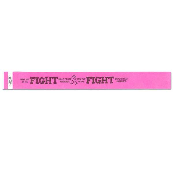 "Speedi-Band® Expressions Tyvek 1"" Fight Like A Girl Design Wristbands TENSWF - Day Glow Pink - 10/Sheet"