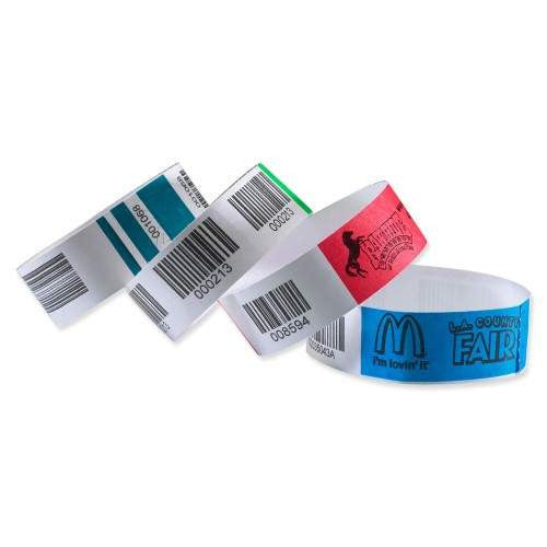 "TicketBand® Bar Code Custom Tyvek Wristbands 1"" Serialized TTX (1000/Box) - Wristbands.com"