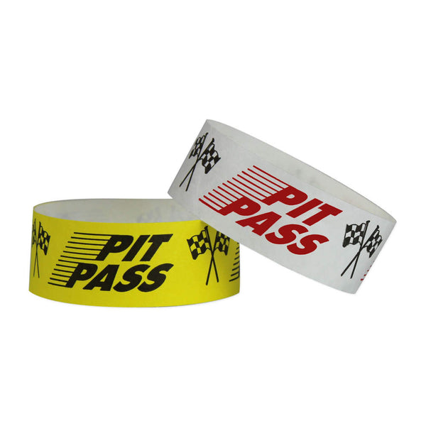"Tytan Band® Expressions Tyvek Wristbands 1"" Pit Pass Design TX15 (500/Pack) Clearance - Wristbands.com"