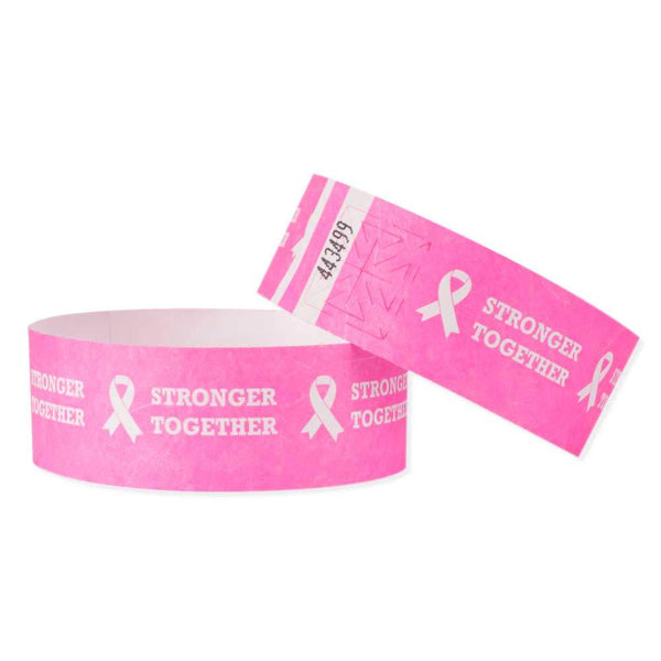 "Tytan-Band® Expressions Tyvek 1"" Stronger Together Design Wristbands TX34 - Day Glow Pink - 500/Pack"