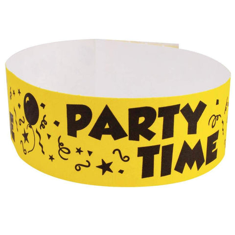 "Tytan Band® Expressions Tyvek Wristbands 1"" Party Time Design TX36 - Yellow (500/Pack) - Wristbands.com"