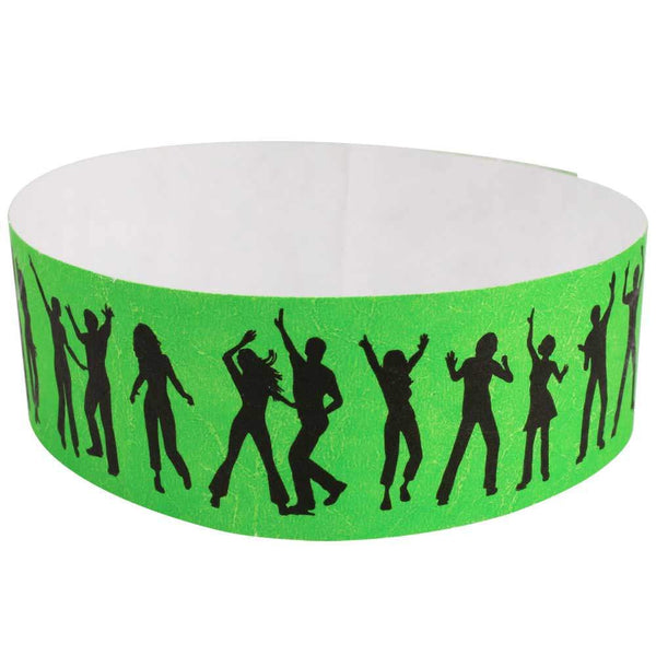 "Tytan Band® Expressions Tyvek 1"" Dance Design Wristbands TX37 - Lime - 500/Pac"