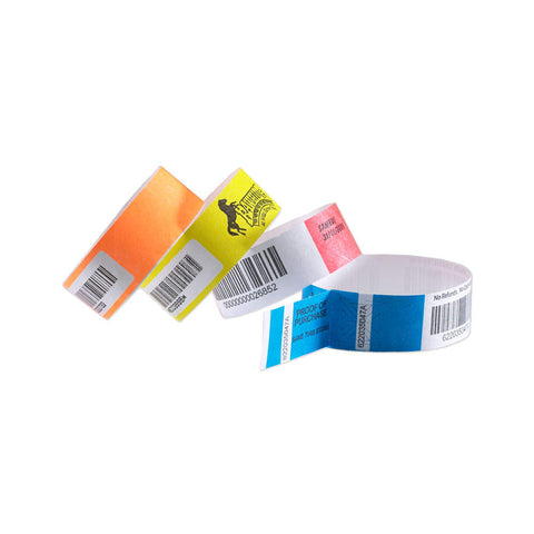 "TicketBand® Plus Bar Code 1"" Serialized Imprinted Custom Tyvek Wristbands TXP (1000/Box) - Wristbands.com"