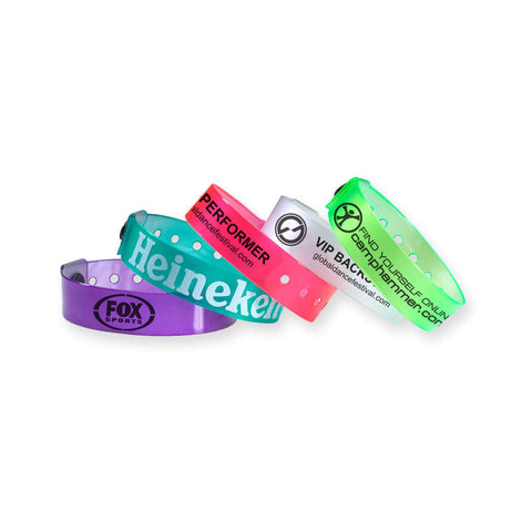 "ClearImage® Custom Vinyl Wristbands 3/4"" Imprinted Snap Closure VCP (500/Box) - Wristbands.com"