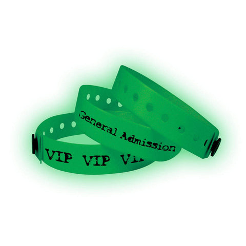 "Vinyl 3/4"" Custom Imprinted Wristbands Snap Closure VSG Glow In Dark 500/Box - Wristbands.com, The No.1 Wristband Store in the World"