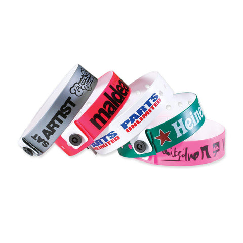 "QUICK SHIP Custom Vinyl Wristbands 3/4"" Imprinted Snap Closure VSP (500/Box) - Wristbands.com"