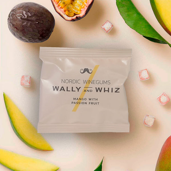 Flowpack Wally & Whiz vingummi mango med Passionsfrugt. mango with passion fruit