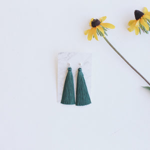 Sterling Silver Stud Silk Tassel Earrings