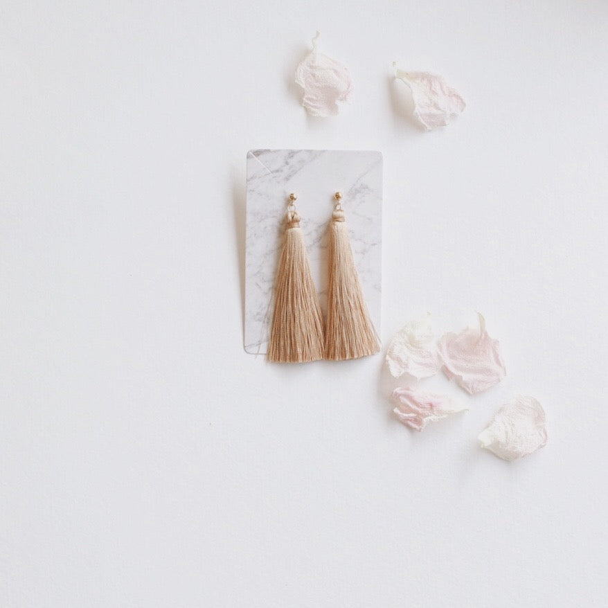 14K Gold Plated Stud Silk Tassel Earrings