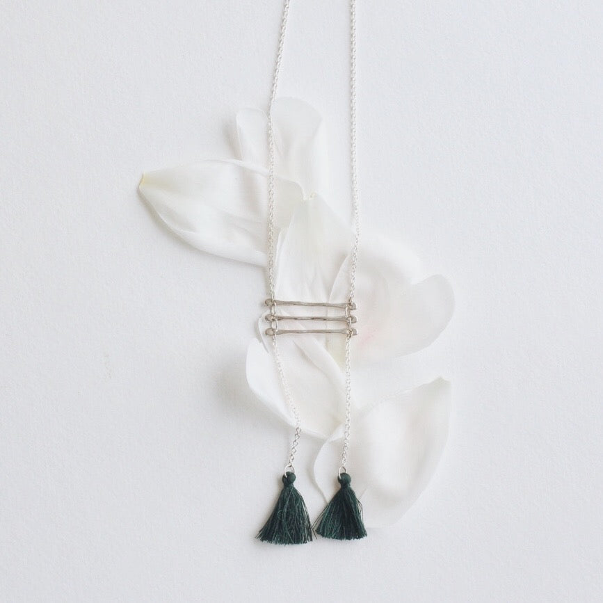 Double Emerald Tassels + Silver Chain Necklace No. 40