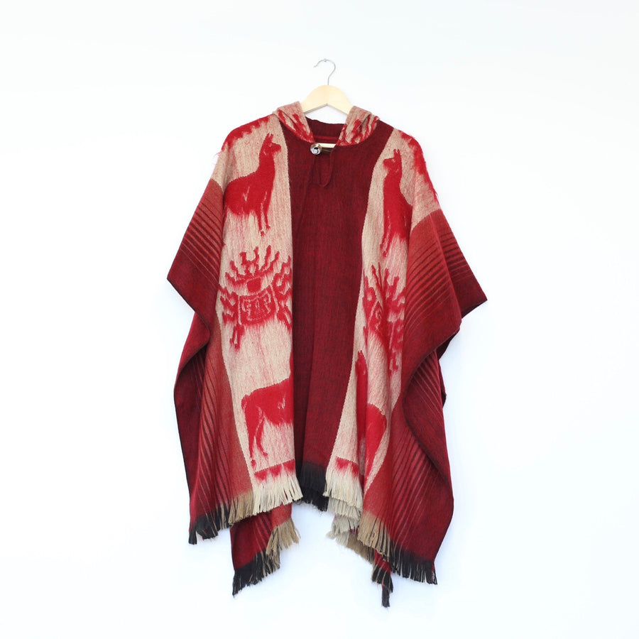 Alpaca Wool Poncho- Closed Front