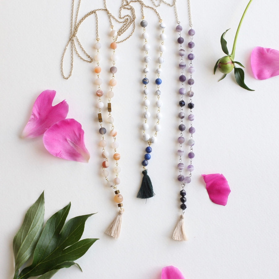 Bead Link Tassel Necklaces