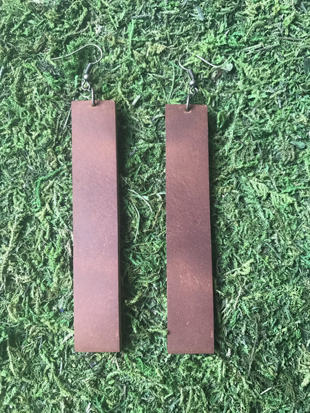 Cognac Leather Bar Earrings