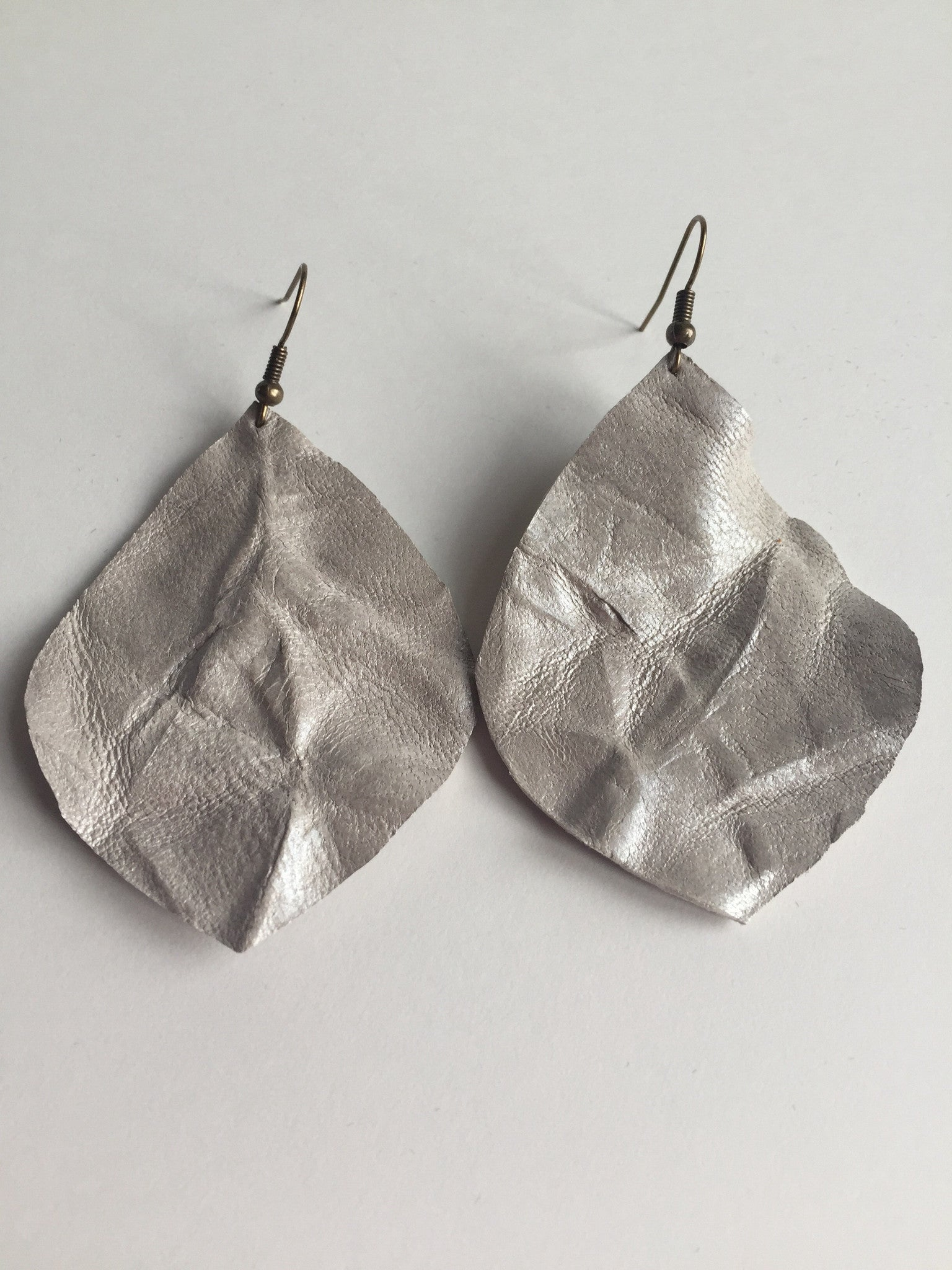 Metallic Waves Large Leaf Leather Earrings