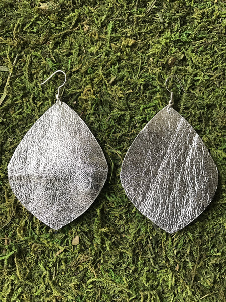 Silver Large Leaf Leather Earrings