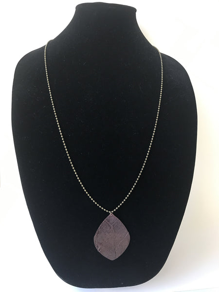 Dark Brown Leather Leaf Necklace