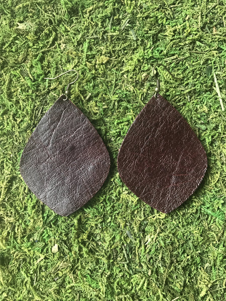 Dark Brown Large Leaf Leather Earrings