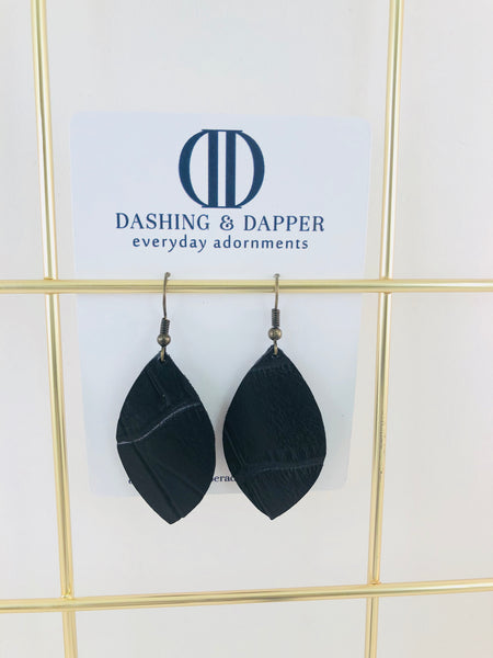 Black Crocodile Small Drop Leather Earrings