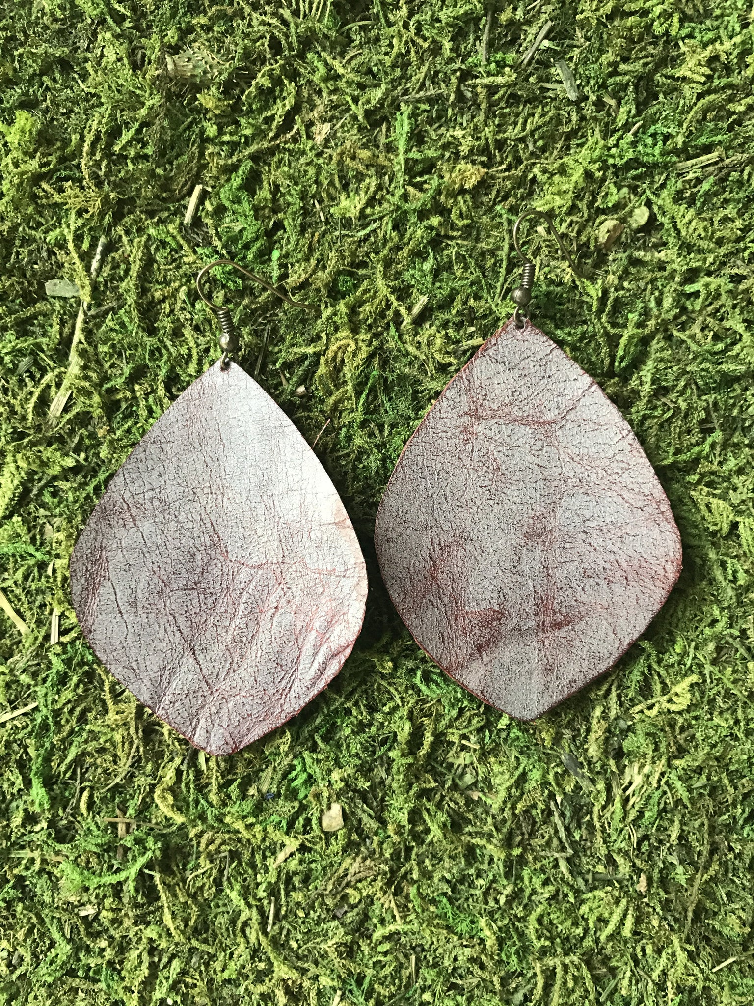 Rusted Root Large Leaf Leather Earrings