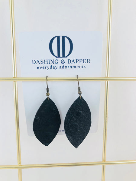 Black Ostrich Small Drop Leather Earrings