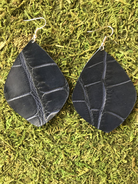 Navy Crocodile Large Laef Leather Earrings