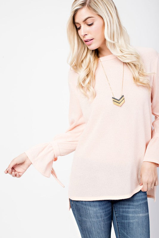 Peach Ribbon Tied Sleeve Top